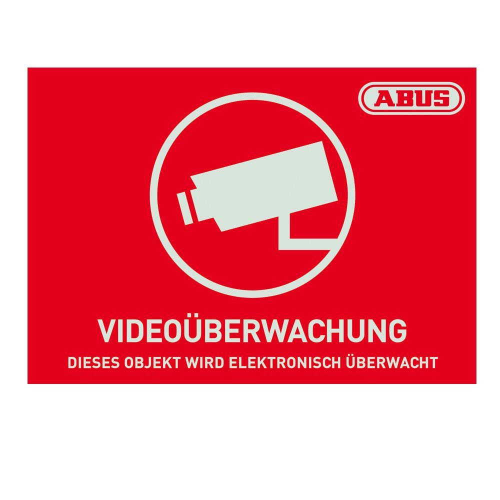abus aufkleber d video berwachung 74x52 5mm au1421 10012772. Black Bedroom Furniture Sets. Home Design Ideas