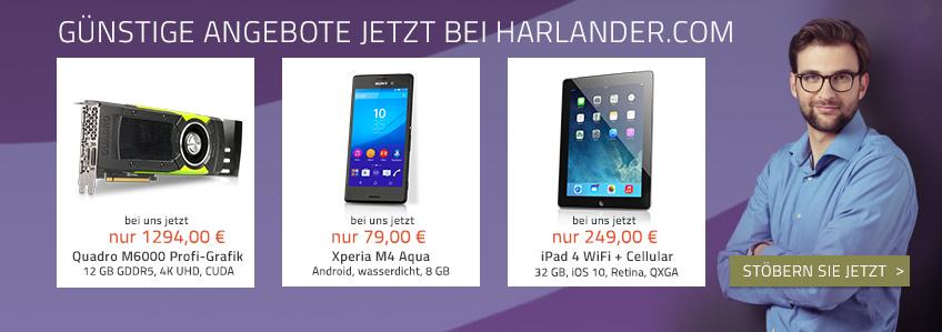 Günstige Smartphones, iPads, Notebooks – Neue Angebote jetzt bei Harlander.com!